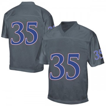 Men's Caperton Humphrey Kansas Jayhawks Adidas Game Gray Football College Jersey