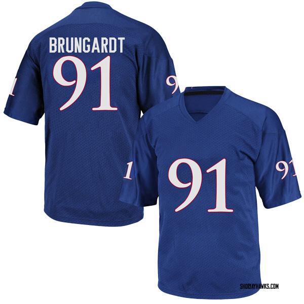 Men's Cole Brungardt Kansas Jayhawks Adidas Game Royal Blue Football College Jersey
