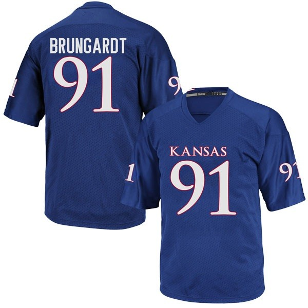 Men's Cole Brungardt Kansas Jayhawks Adidas Replica Royal Blue Football College Jersey