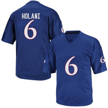 Men's Isi Holani Kansas Jayhawks Adidas Replica Royal Blue Football College Jersey