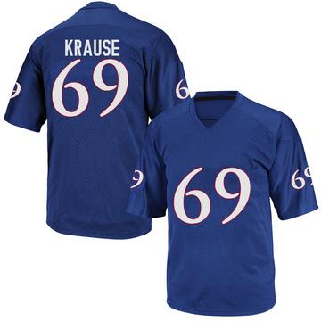 Men's Joe Krause Kansas Jayhawks Adidas Game Royal Blue Football College Jersey