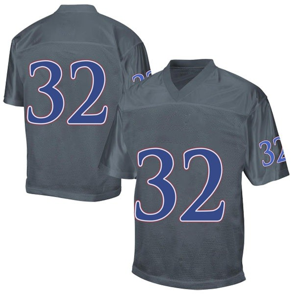 Men's Reese Randall Kansas Jayhawks Adidas Game Gray Football College Jersey