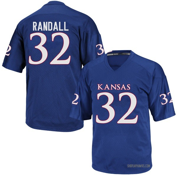 Men's Reese Randall Kansas Jayhawks Adidas Replica Royal Blue Football College Jersey