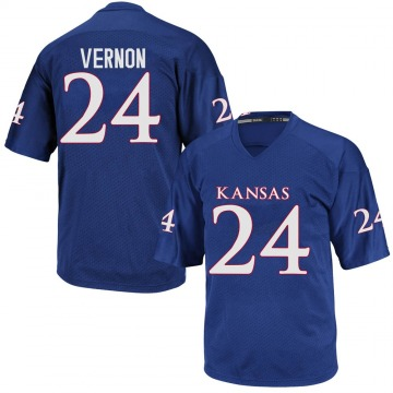 Men's Reis Vernon Kansas Jayhawks Game Royal Blue Football College Jersey