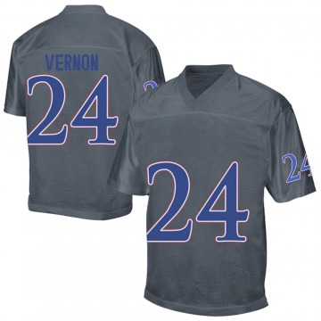 Men's Reis Vernon Kansas Jayhawks Replica Gray Football College Jersey