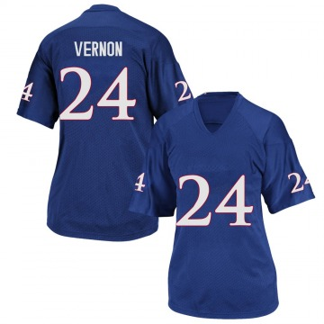 Women's Reis Vernon Kansas Jayhawks Adidas Game Royal Blue Football College Jersey