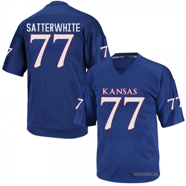 Youth Jackson Satterwhite Kansas Jayhawks Adidas Game Royal Blue Football College Jersey